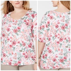 Pink Floral Elbow Sleeve Tee Plus Size 2X